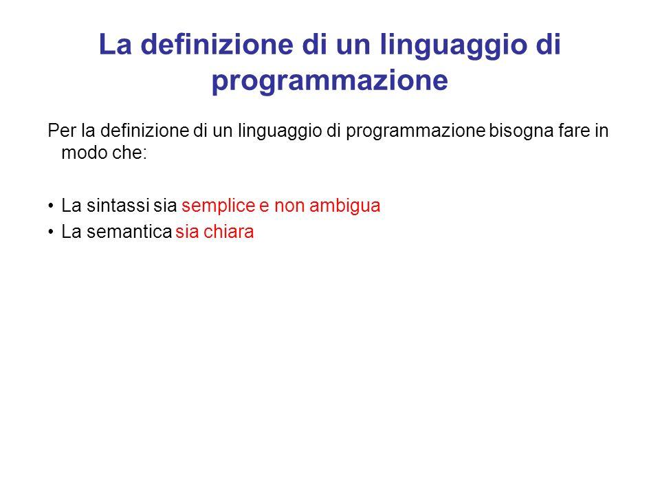 La definizione di un linguaggio di programmazione