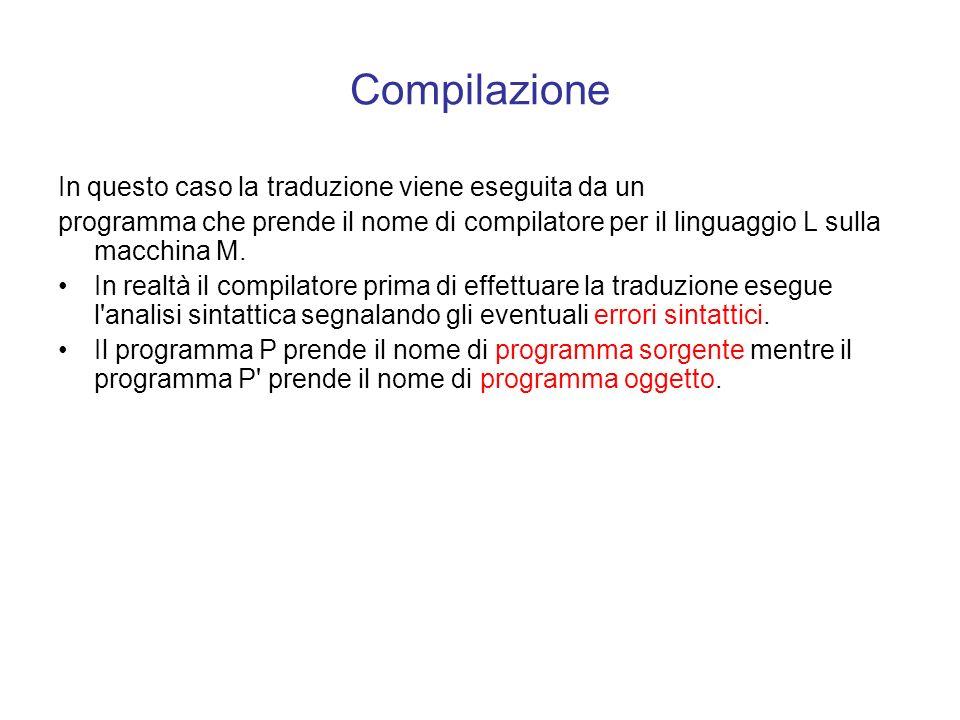 Compilazione In questo caso la traduzione viene eseguita da un