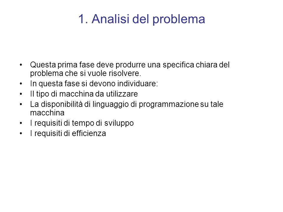 1. Analisi del problema Questa prima fase deve produrre una specifica chiara del problema che si vuole risolvere.