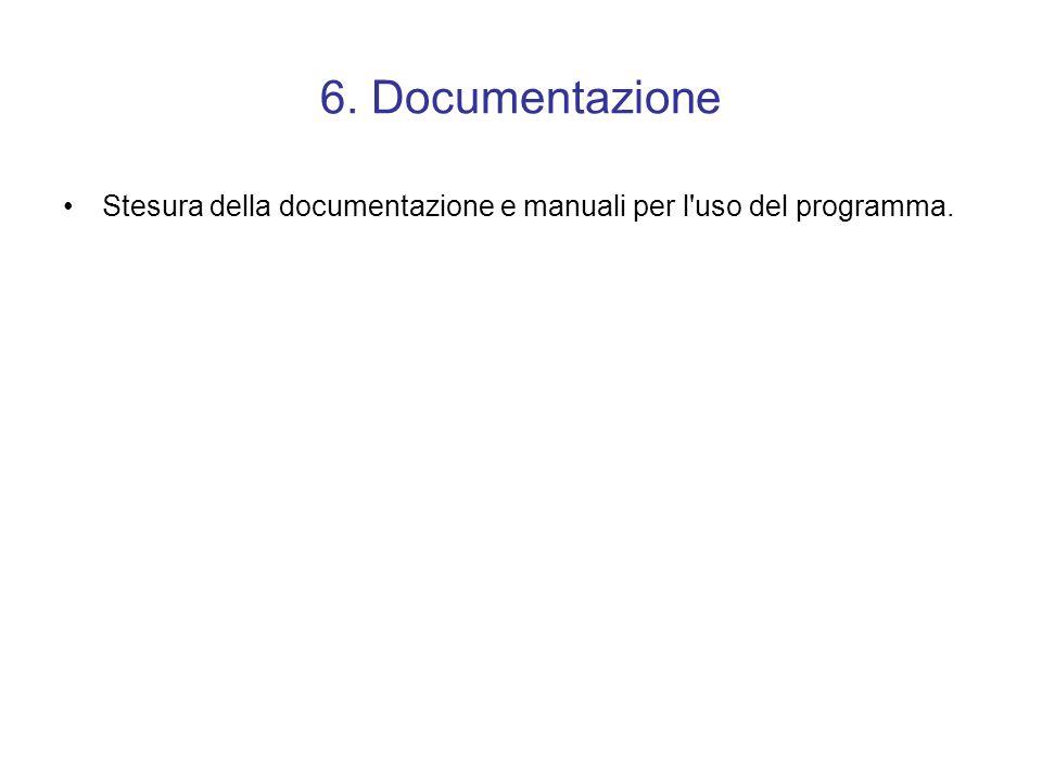 6. Documentazione Stesura della documentazione e manuali per l uso del programma.