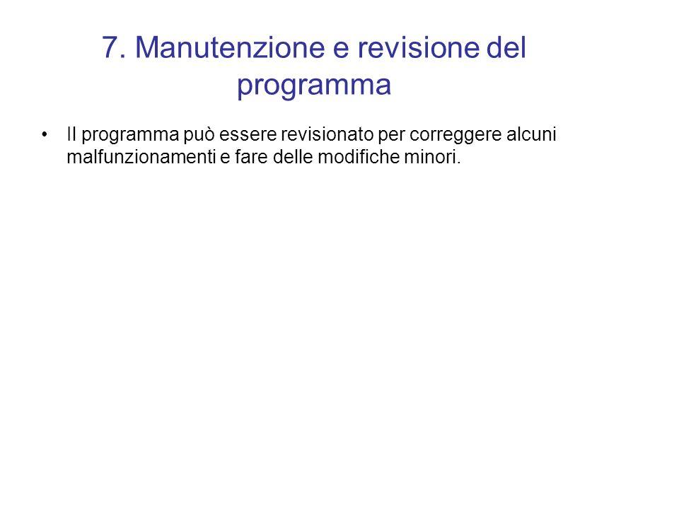 7. Manutenzione e revisione del programma