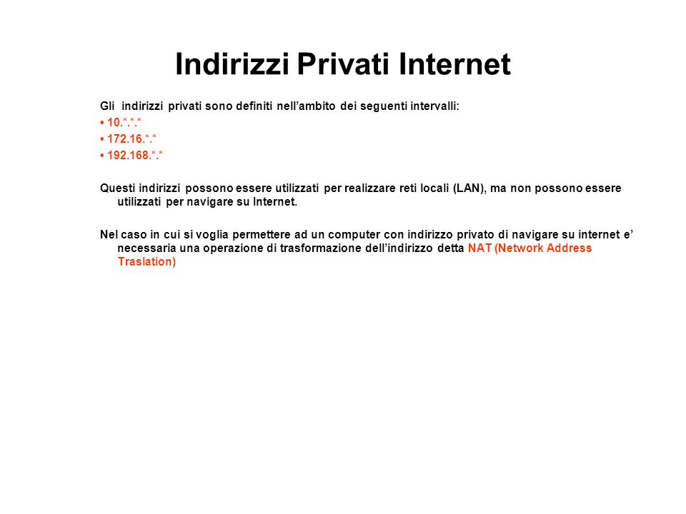Indirizzi Privati Internet