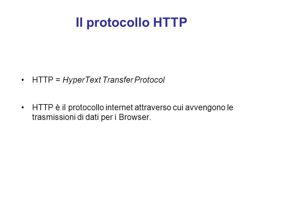 Il protocollo HTTP HTTP = HyperText Transfer Protocol