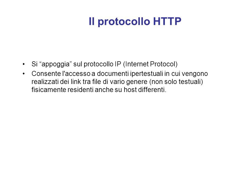 Il protocollo HTTP Si appoggia sul protocollo IP (Internet Protocol)