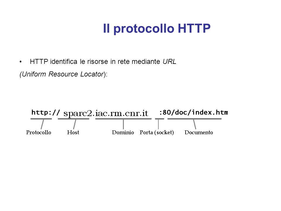 Il protocollo HTTP HTTP identifica le risorse in rete mediante URL