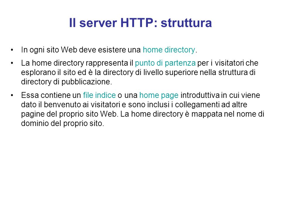 Il server HTTP: struttura