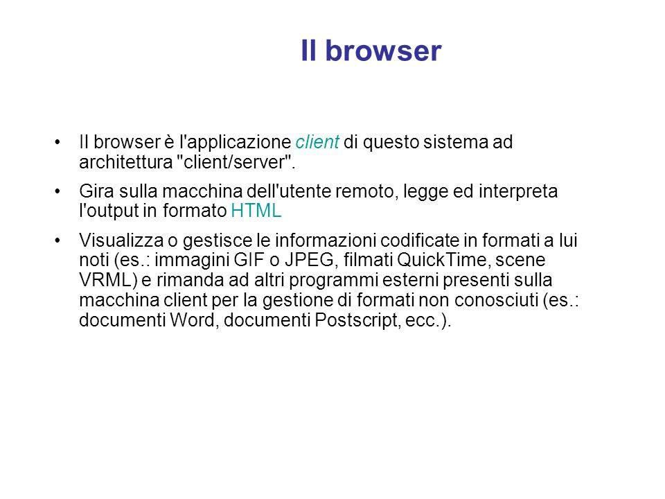 Il browser Il browser è l applicazione client di questo sistema ad architettura client/server .