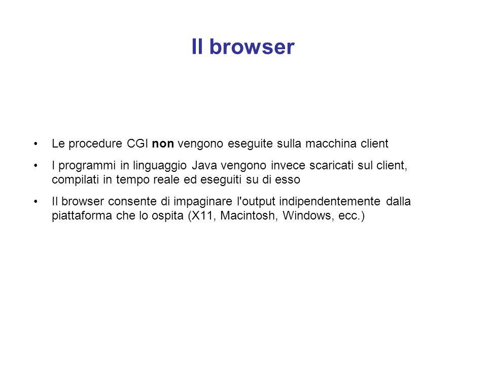 Il browser Le procedure CGI non vengono eseguite sulla macchina client