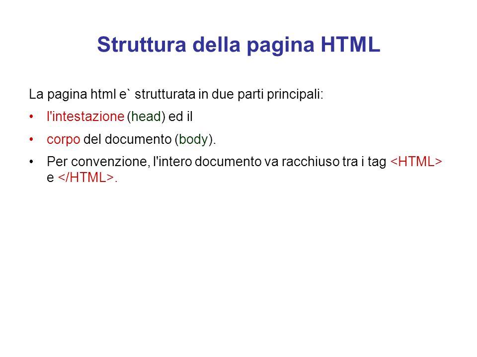 Struttura della pagina HTML