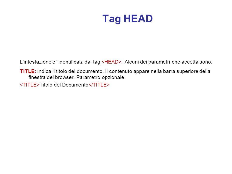 Tag HEAD L intestazione e` identificata dal tag <HEAD>. Alcuni dei parametri che accetta sono: