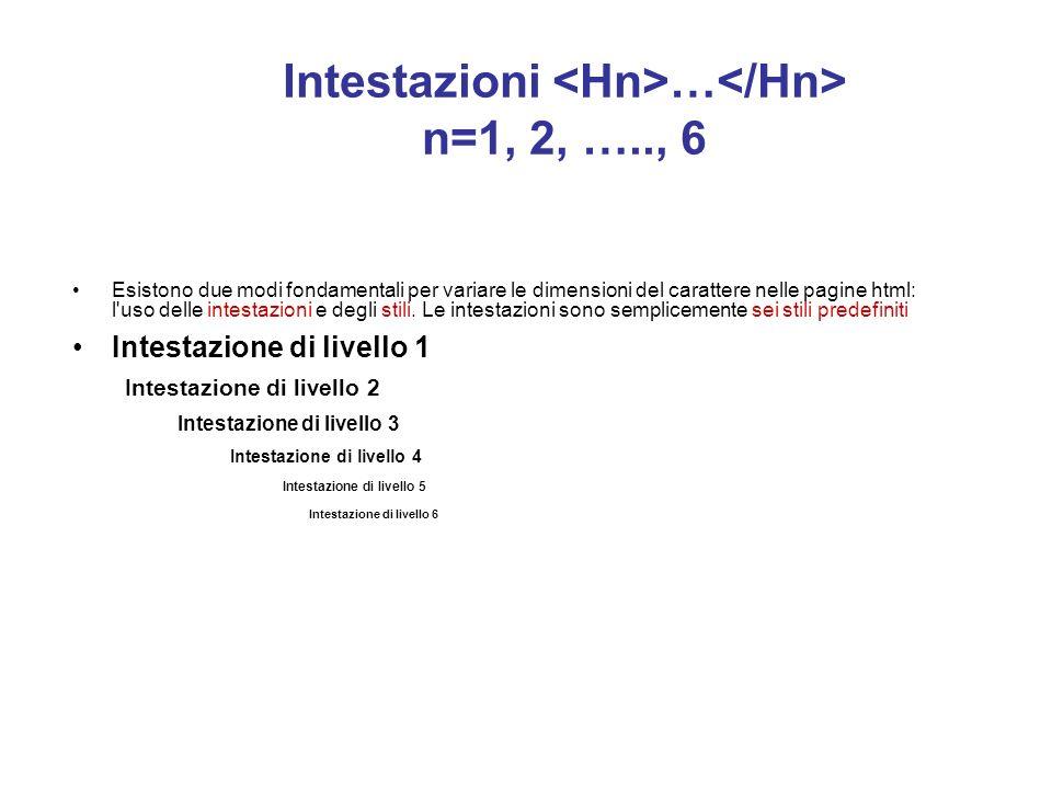 Intestazioni <Hn>…</Hn> n=1, 2, ….., 6