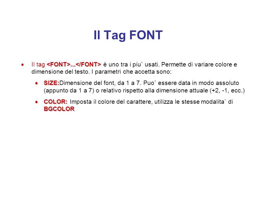 Il Tag FONT Il tag <FONT>...</FONT> è uno tra i piu` usati. Permette di variare colore e dimensione del testo. I parametri che accetta sono: