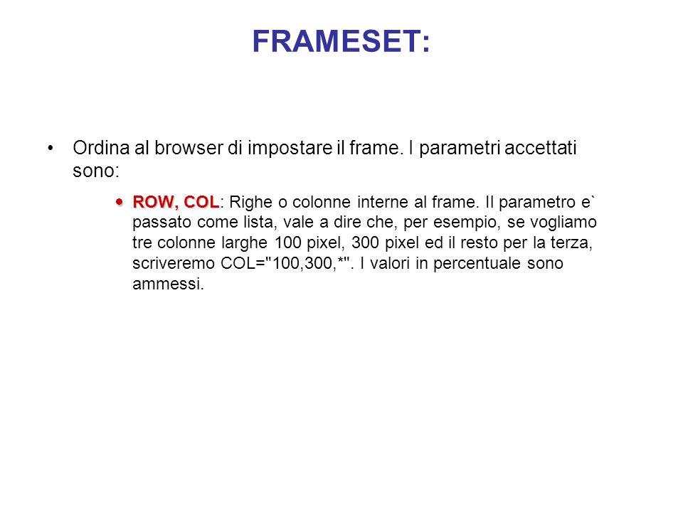 FRAMESET: Ordina al browser di impostare il frame. I parametri accettati sono: