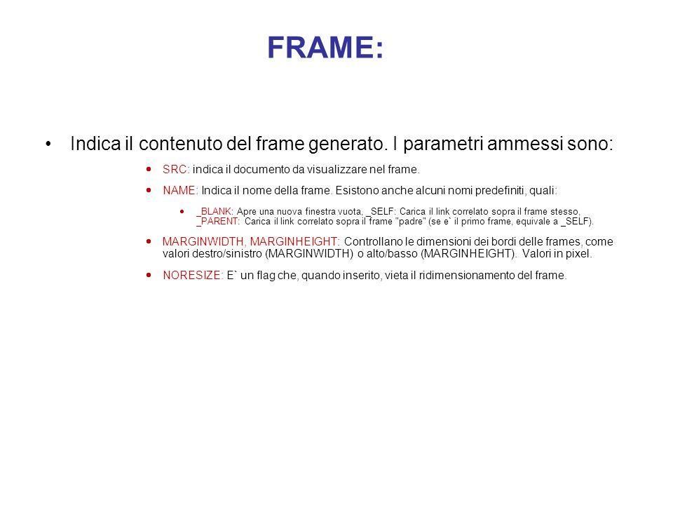 FRAME: Indica il contenuto del frame generato. I parametri ammessi sono: SRC: indica il documento da visualizzare nel frame.