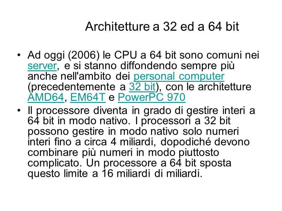 Architetture a 32 ed a 64 bit