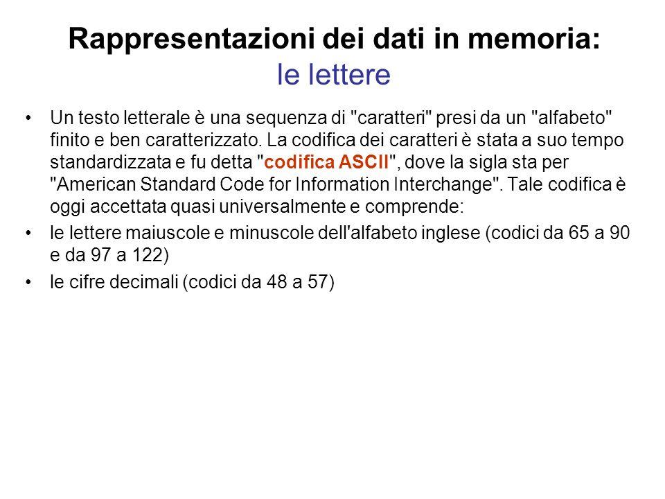 Rappresentazioni dei dati in memoria: le lettere