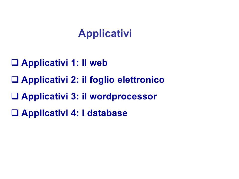 Applicativi Applicativi 1: Il web Applicativi 2: il foglio elettronico