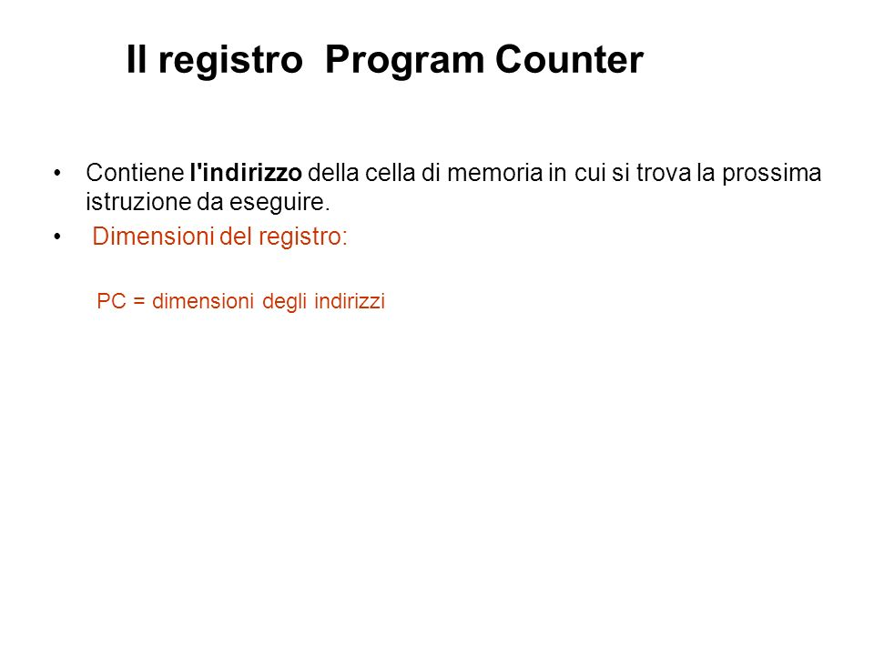 Il registro Program Counter