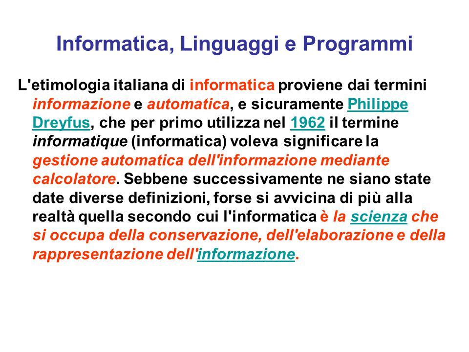 Informatica, Linguaggi e Programmi