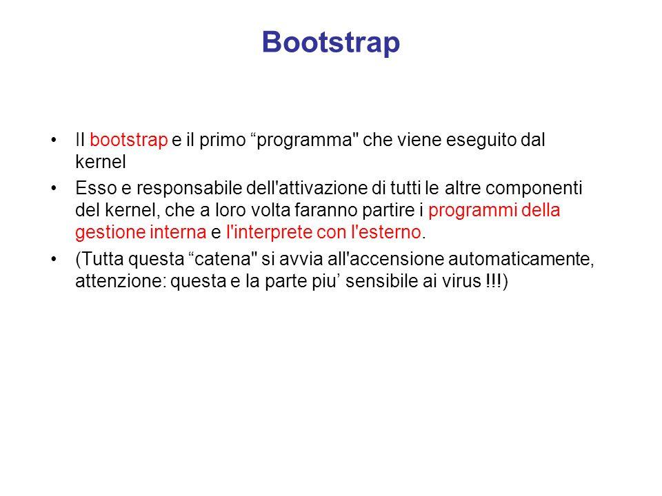 Bootstrap Il bootstrap e il primo programma che viene eseguito dal kernel.