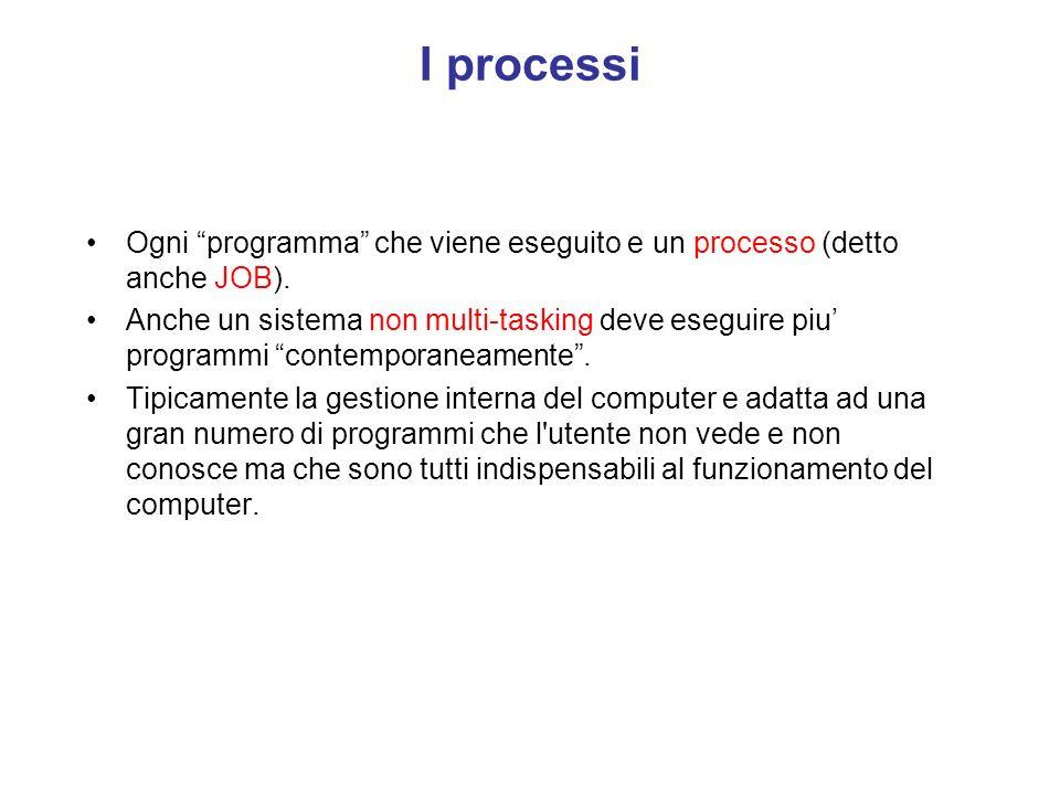 I processi Ogni programma che viene eseguito e un processo (detto anche JOB).