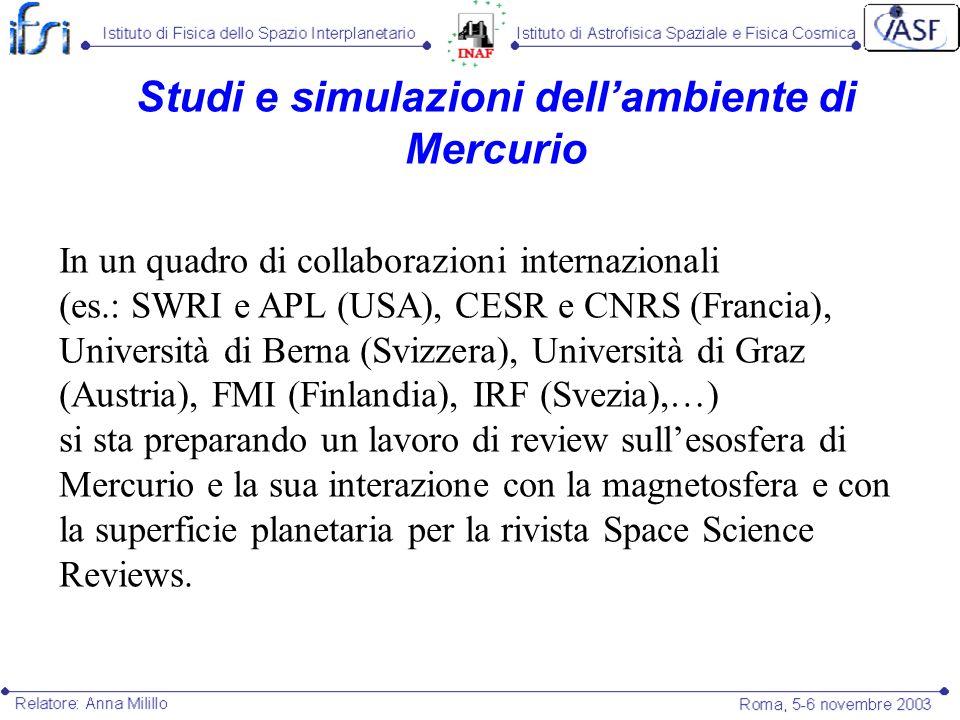 Studi e simulazioni dell'ambiente di Mercurio