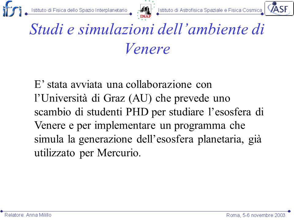 Studi e simulazioni dell'ambiente di Venere