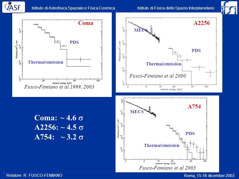 Coma: ~ 4.6  A2256: ~ 4.5  A754: ~ 3.2  Coma A2256 A754