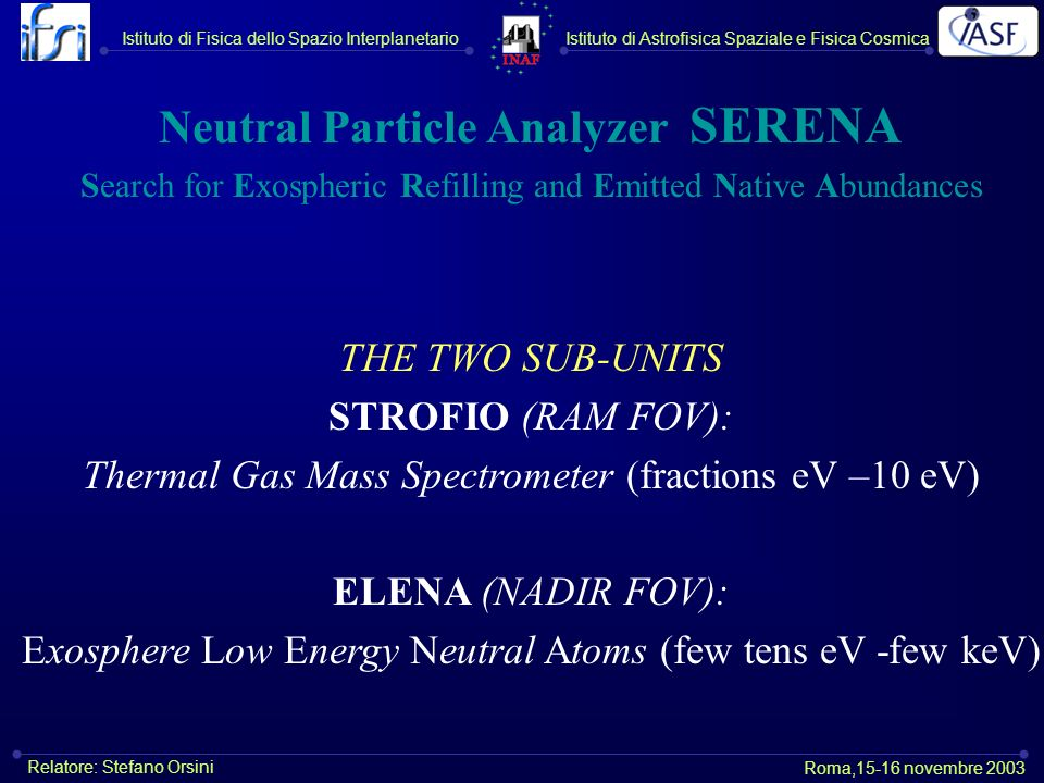 Neutral Particle Analyzer SERENA