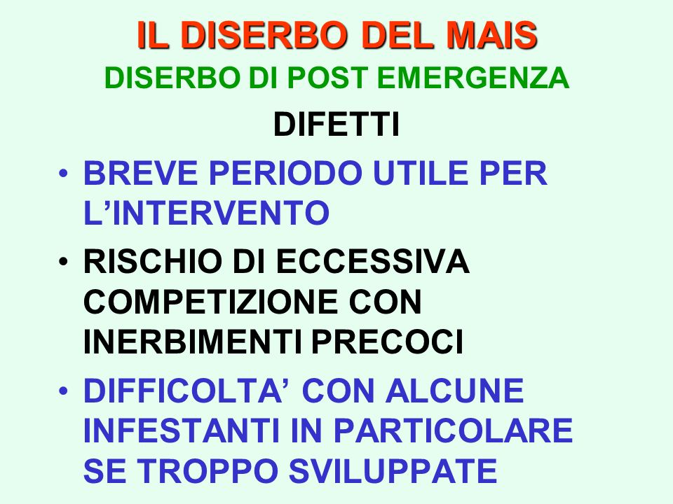 DISERBO DI POST EMERGENZA