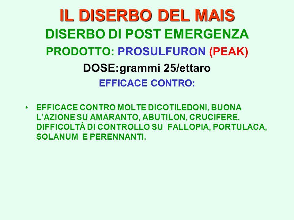 DISERBO DI POST EMERGENZA PRODOTTO: PROSULFURON (PEAK)