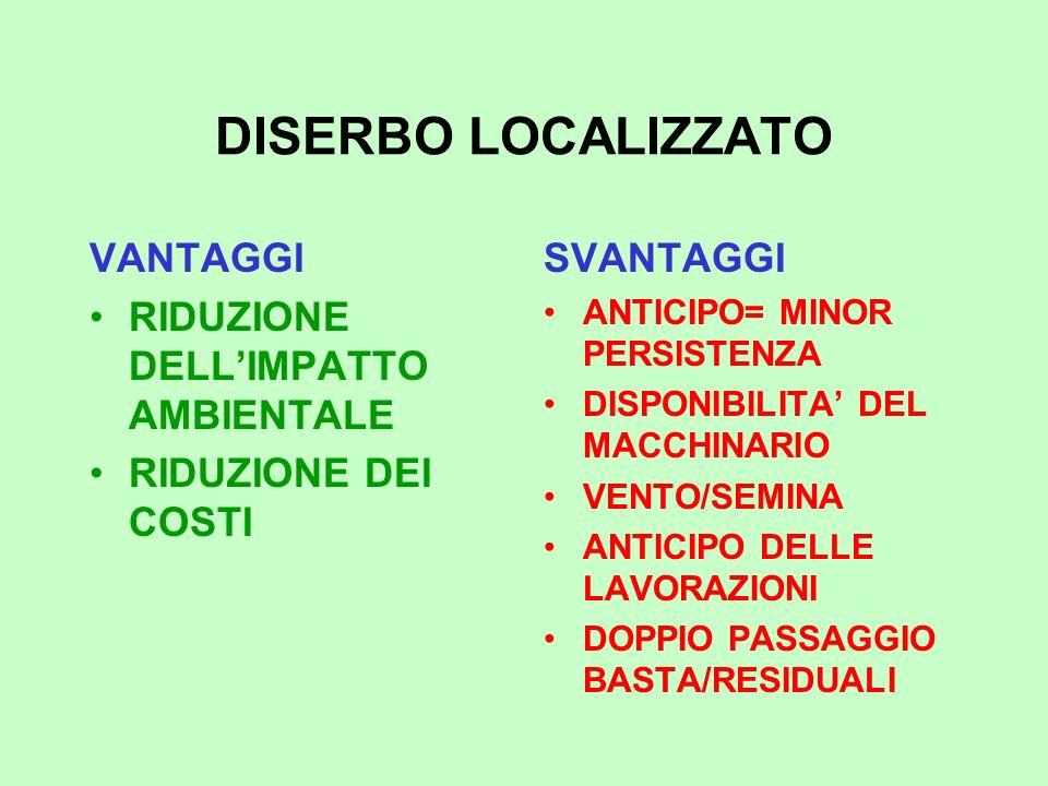 DISERBO LOCALIZZATO VANTAGGI RIDUZIONE DELL'IMPATTO AMBIENTALE