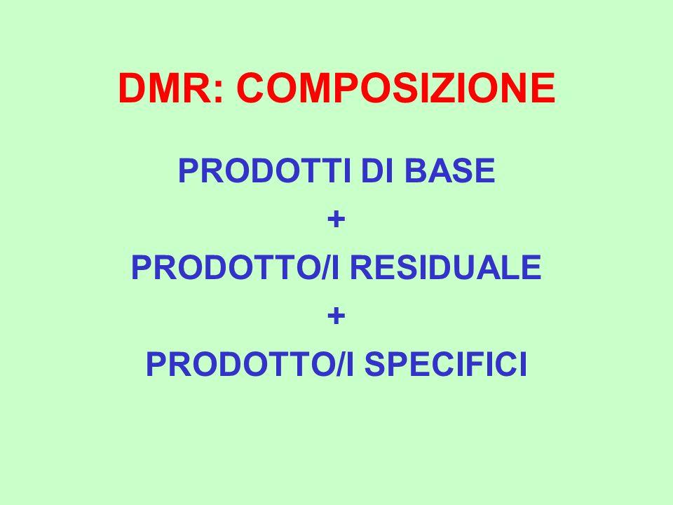 DMR: COMPOSIZIONE PRODOTTI DI BASE + PRODOTTO/I RESIDUALE