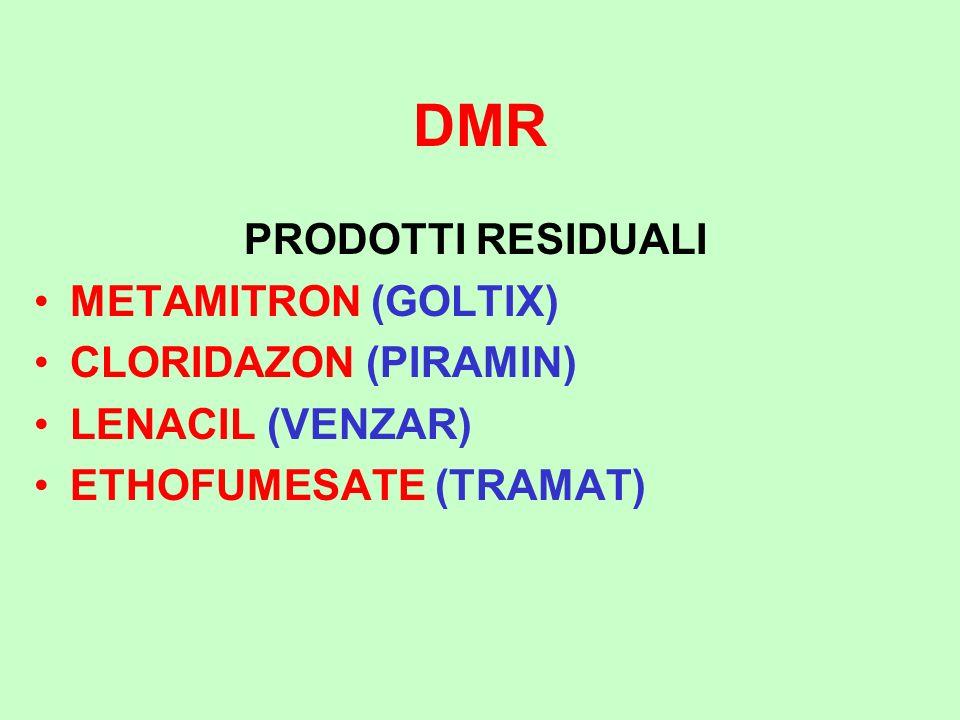 DMR PRODOTTI RESIDUALI METAMITRON (GOLTIX) CLORIDAZON (PIRAMIN)