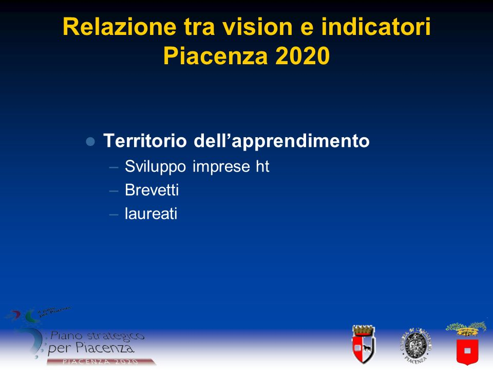 Relazione tra vision e indicatori Piacenza 2020