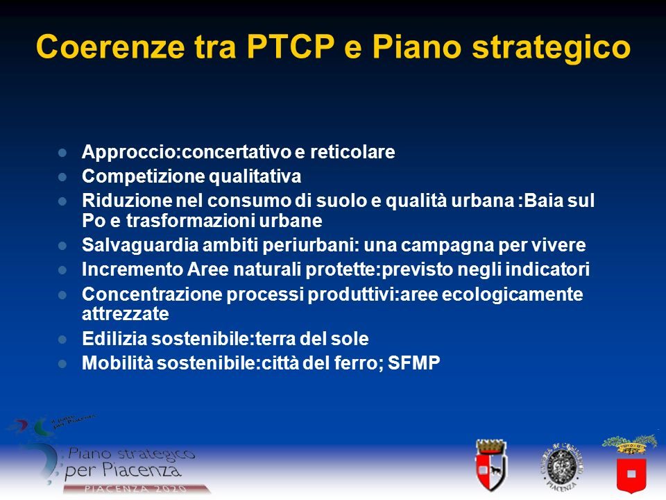 Coerenze tra PTCP e Piano strategico
