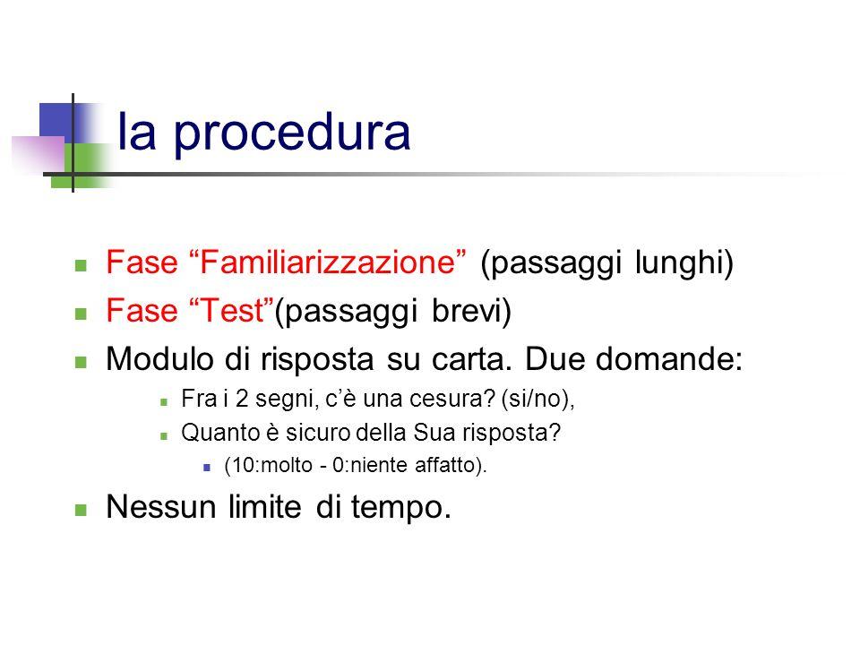 la procedura Fase Familiarizzazione (passaggi lunghi)