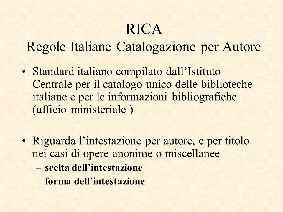 RICA Regole Italiane Catalogazione per Autore