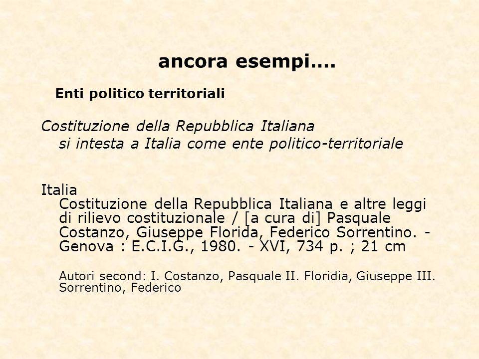 ancora esempi…. Costituzione della Repubblica Italiana