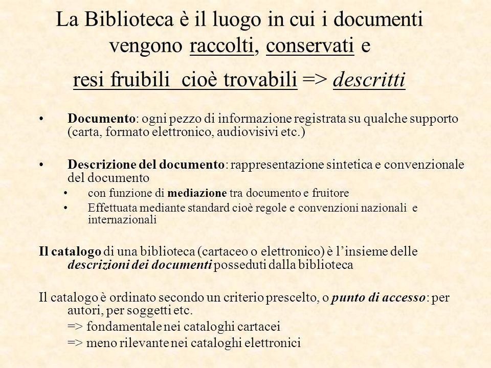 La Biblioteca è il luogo in cui i documenti vengono raccolti, conservati e resi fruibili cioè trovabili => descritti