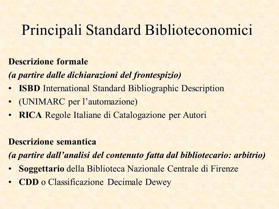 Principali Standard Biblioteconomici