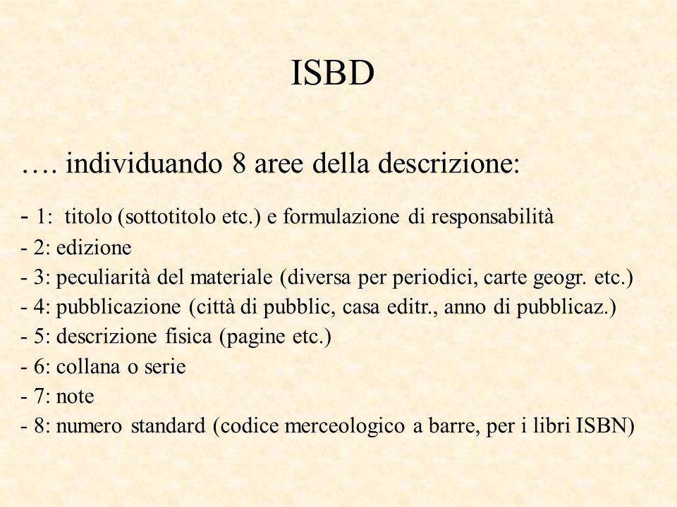ISBD …. individuando 8 aree della descrizione: