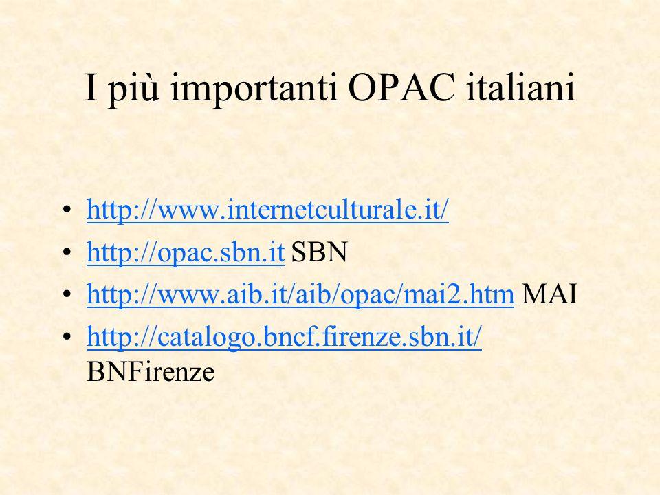 I più importanti OPAC italiani