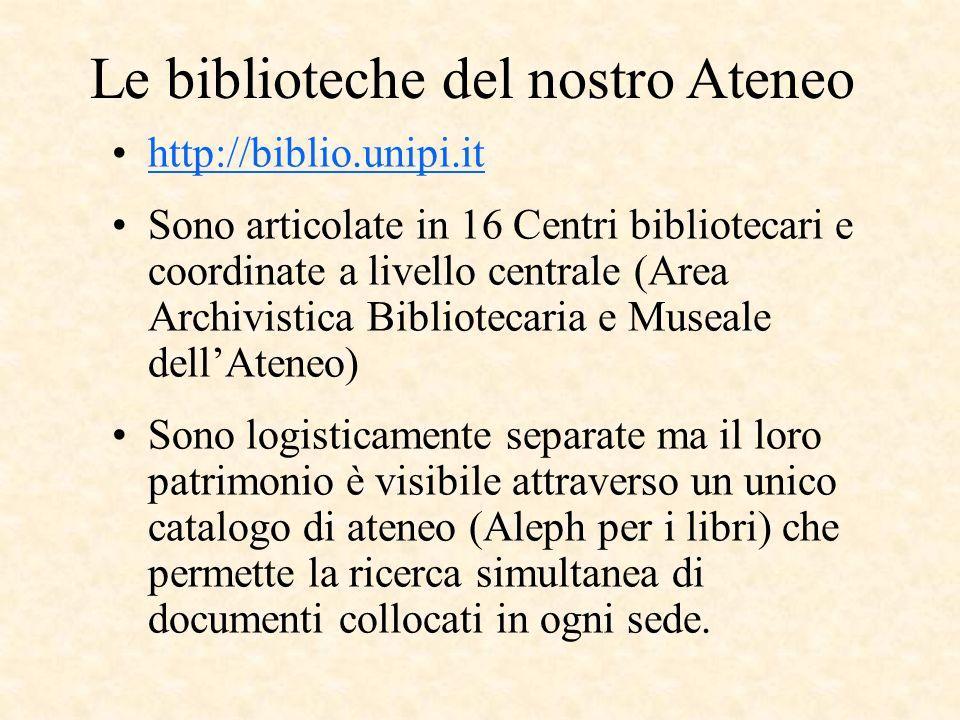 Le biblioteche del nostro Ateneo