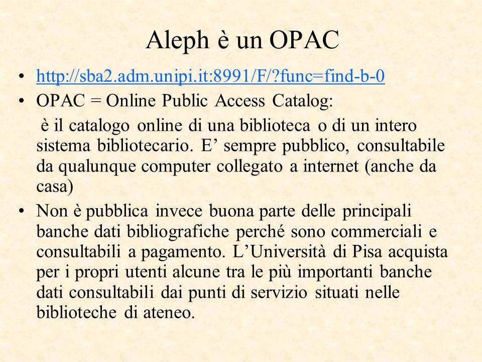 Aleph è un OPAC http://sba2.adm.unipi.it:8991/F/ func=find-b-0