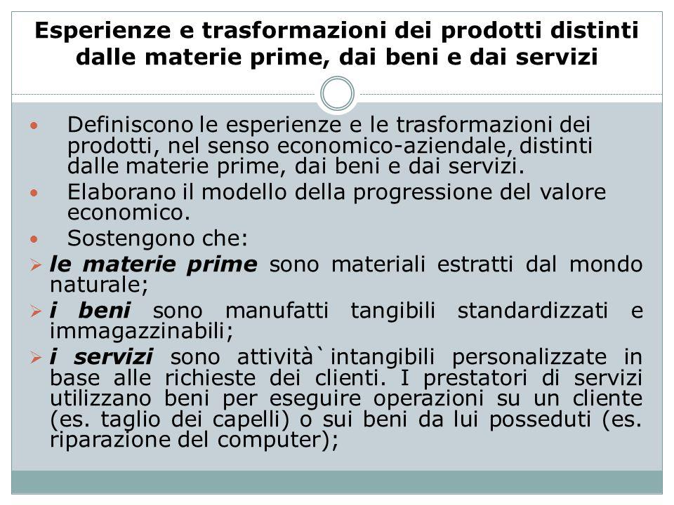 Esperienze e trasformazioni dei prodotti distinti dalle materie prime, dai beni e dai servizi
