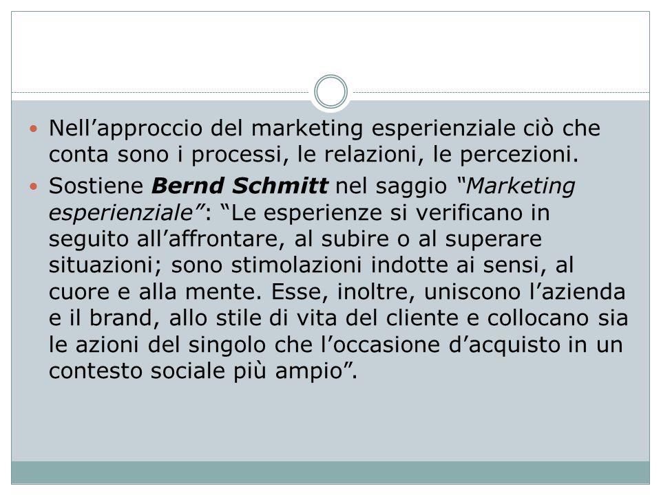 Nell'approccio del marketing esperienziale ciò che conta sono i processi, le relazioni, le percezioni.