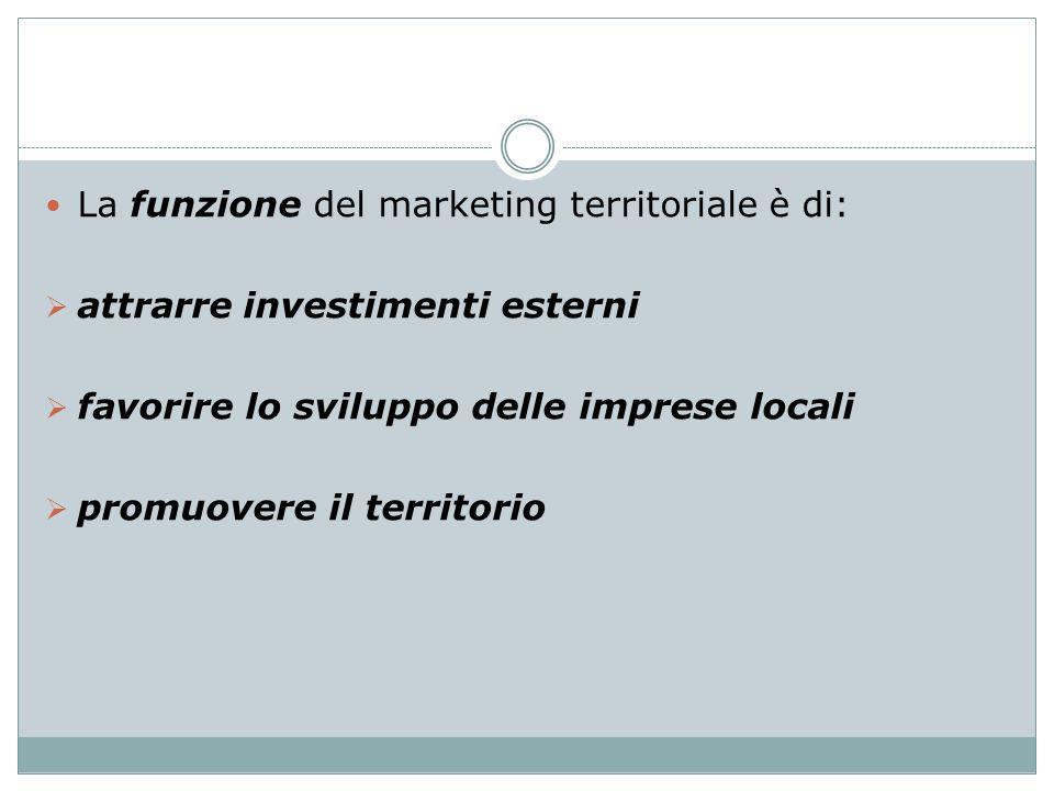 La funzione del marketing territoriale è di: