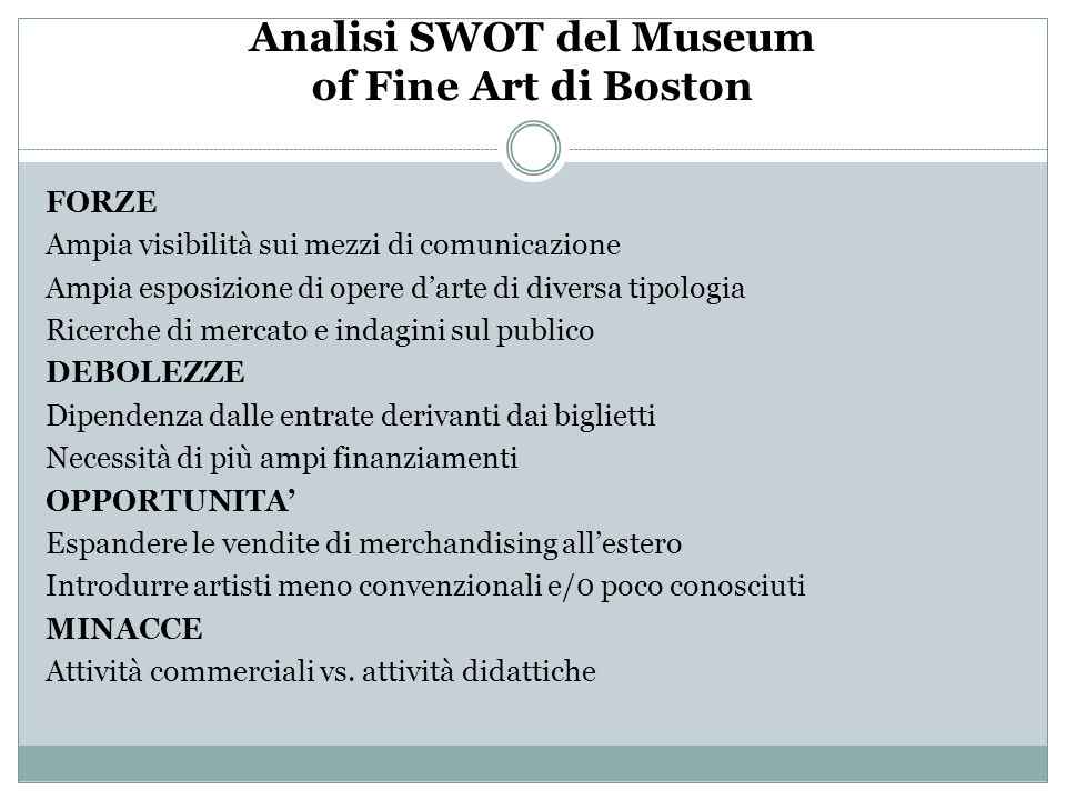 Analisi SWOT del Museum of Fine Art di Boston