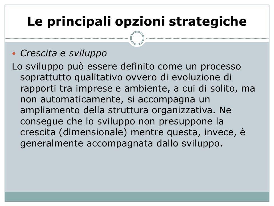 Le principali opzioni strategiche